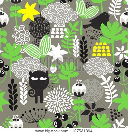 Spring time seamless pattern with cute hunter cat and bird. Vector repeated background.