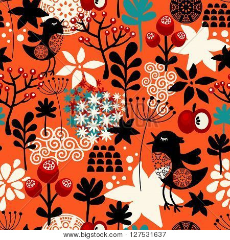 Orange seamless pattern with cute singing birds and summer plants. Vector repeated background.