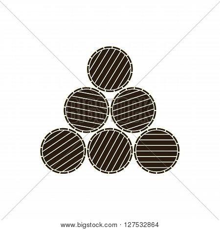 Wine or beer barrels engraving vector illustration on white background