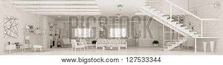 Modern white apartment interior living room hall kitchen dining roomstaircase panorama 3d rendering