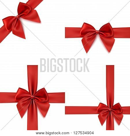 Set with different gift wrapping compositions of realistic red bow and ribbon isolated on white background. Red ribbons. Red bow templates. Red bow backgrounds. Vector illustration.