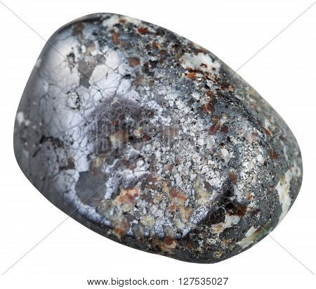 Polished Magnetite Gemstone Isolated On White