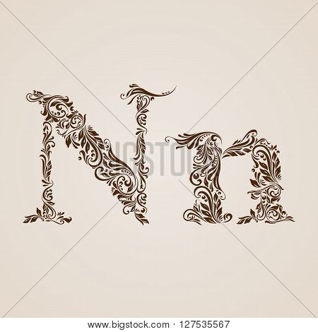 Handsomely decorated letter n in upper and lower case.