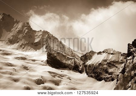 Glacier In Winter Mountains
