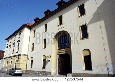 Levoca PRESOV SLOVAKIA - APRIL 03 2016: View on the old building of theatre in historical center of Levoca Slovakia.