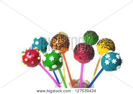 delicious dessert - colored cakepops on isolated background