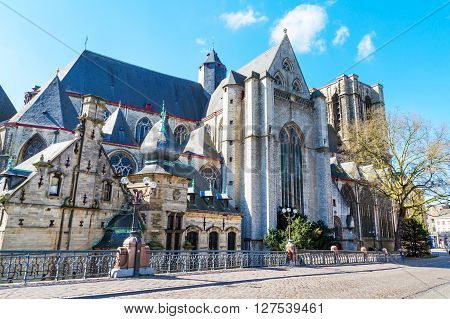 Ghent, Belgium - April 12, 2016: Medieval St. Michael church in Ghent, Belgium