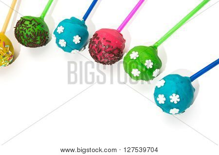 Mini holiday cake - cakepops on isolated background