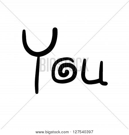 You vector hand drawn words calligraphy typography black on white.