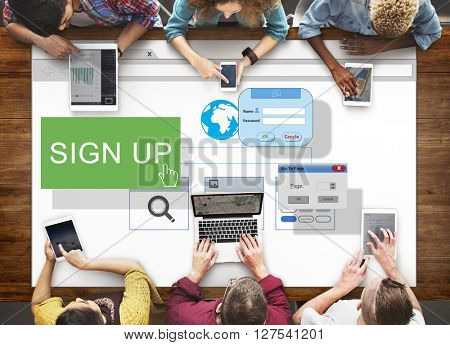 Sign-In Sign-Up Join Registry Membership Concept poster
