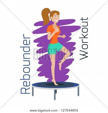 Sporty girl jumping on trampoline. Trampolining training. Jumping exercise. Vector illustration
