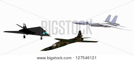 three low-poly 3D models of combat aircraft. White background. F 117A, F-111D, F-14. 3D rendering, 3D illustration