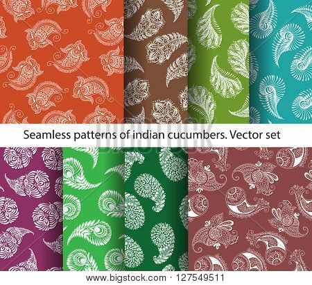 Vector set of seamless colorful indian cucumbers patterns. Stock mehndi illustration for design