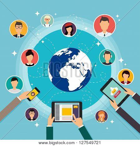 Social Network Vector Concept. Flat Design Illustration For Web Sites Infographic Design With Laptop