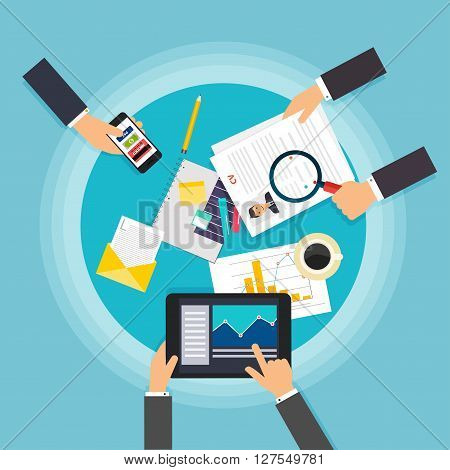 Business Teamwork. Creative Team Desktop Top View With Tablets, Stationery And People Working Togeth