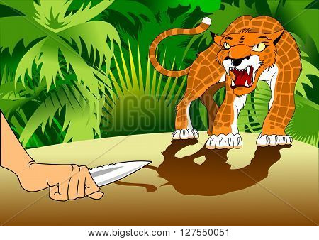 Hunter with a knife in his hand protected by a ferocious leopard