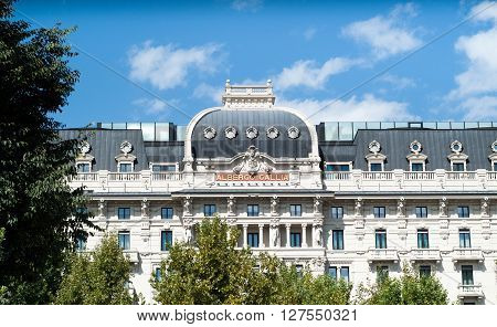 Milan, Italy - September 5th 2015: photo of Excelsior Hotel Gallia (Albergo Gallia) in Milan Italy.