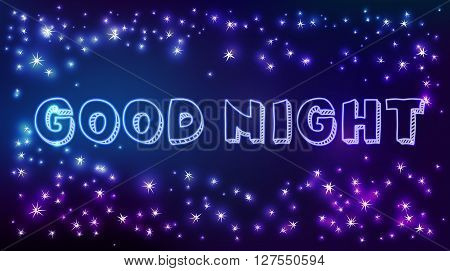 Vector constellation frame in space with good night text. Stock illustration of star frame for design