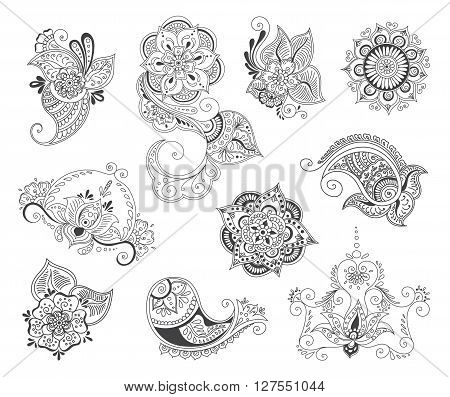 Vector abstract patterns of tattoo henna. Zentangle paisley and flower. Stock mehndi set for design on white background.