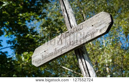 Piani d'Erna Italy - September 7th 2015: a wooden sign at Piani d'Erna the Italian Alps (