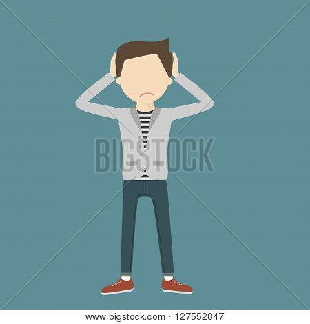 Anxious man clutching his head. Loser. Young guy with a problem. Sad man with hands on head isolated. Vector flat style illustration.