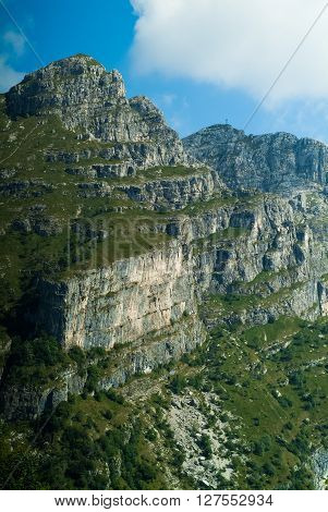 a rocky view of Piani d'Erna (part of the Alps) near Lake Como in Italy