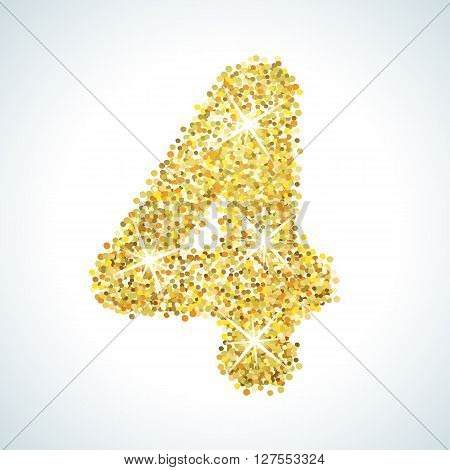 Four number in golden style. illustration gold design. Formed by yellow shapes. For party poster, greeting card, banner or invitation. Cute numerical icon and sign.