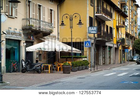 Colico Italy - September 8th 2015: a lakeside high street in Colico a town in the northern part of Lake Como