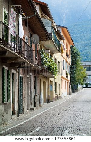 Colico Italy - September 8th 2015: a small street in Colico a town in the northern part of Lake Como