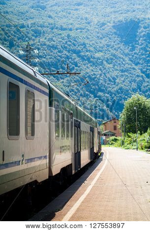 Colico Italy - September 8th 2015: a Trenord train ready to deaprt from Colico a town in the northern part of Lake Como