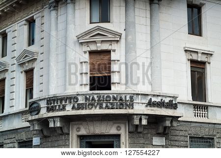 Bergamo, Italy - September 9th 2015: the facade of Istituto Nazionale delle Assicurazioni (the National Insurance Institute Assitalia) in Bergamo Italy.
