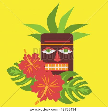 Poster with tropical palm leaves and flowers hibiscus flower hawaii with tiki mask, exotic summer flower background