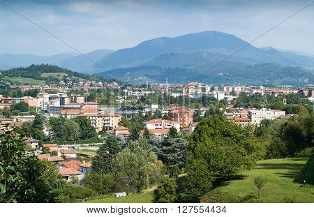 a view of Bergamo a town near Lake Como with the Alps in the background