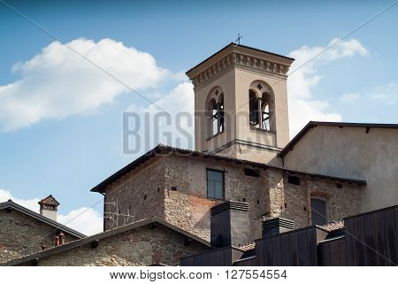 photo of a rectangular bell tower in Bergamo Italy
