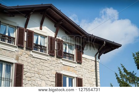 a traditional house facade photographed in Bergamo Italy
