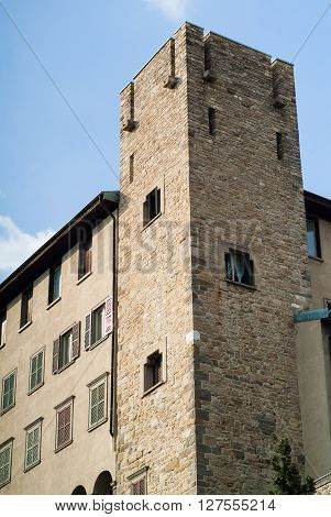 a castle-like part of a house in Bergamo a town near Lake Como