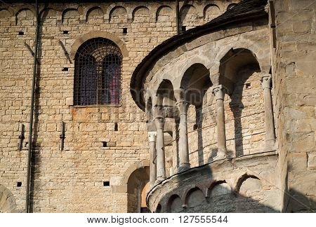 part of Basilica di Santa Maria Maggiore an 8th century church in Bergamo Italy