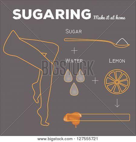 Sugaring illustration. Ingredients of sugar paste for epilation