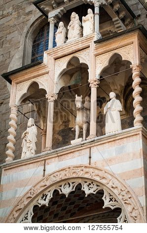 part of the entrance decoration at Cappella Colleoni a 15th century church and mausoleum in Piazza del Duomo Bergamo