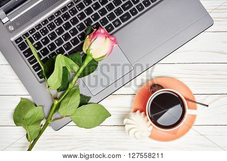 Office Desk Table With Laptop And Coffee Cup