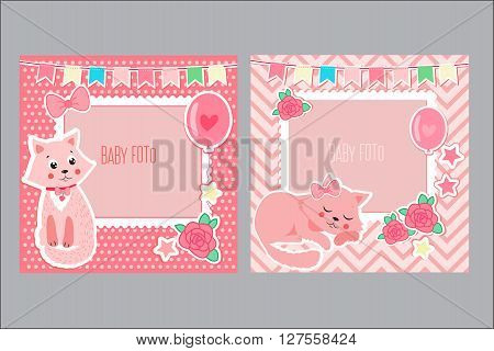 Photo Frames For Kids. Decorative Template For Baby Girl. Scrapbook Vector Illustration. Baby Girl Photo Framework. Photo Frames For Girl With Cute Cat. Postcard Frame. Child Album.