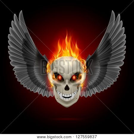 Mutant skull with orange flame and black wings