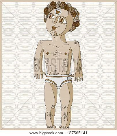 Vector Lined Illustration Of Nude Man, Adam Concept. Hand Drawn Image Of Person Isolated On White Sy