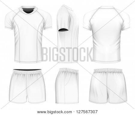 Rugby uniform: rugby jersey and shorts. Fully editable handmade mesh. Vector illustration.