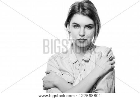 Closeup Portrait Calm Woman Holding Hugging Herself Isolated White, Black And White