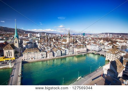 Zuerich, Switzerland - February 11, 2016 - View Of Historic Zurich City Center With Famous Grossmuns