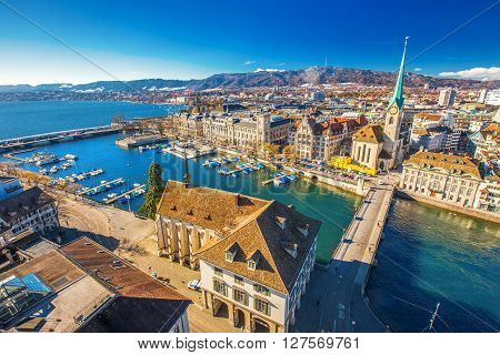 View of historic Zurich city center with famous Fraumunster Church Limmat river and Zurich lake from Grossmunster Church Switzerland