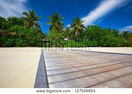 Bridge leading to tropical island in Maldiven
