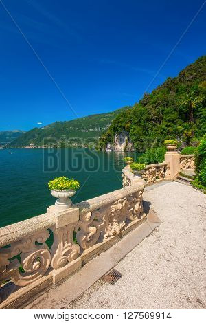 VILLA BALBIANELLO ITALY - May 17 2015 - Beautiful view to Como lake and Alps from Villa Balbianello Italy. Villa was used for several films scene like Casino Royale and Star Wars.