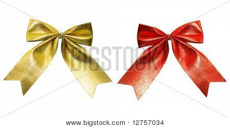 Close up of color ribbon tied for christmas